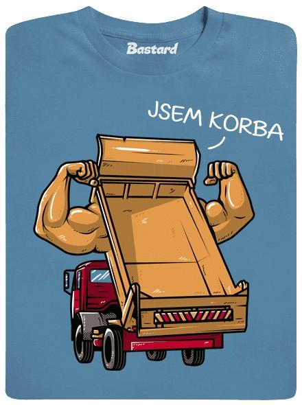 Korba náklaďáku a její svaly a bicepsy - modré pánské tričko