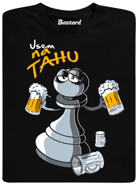 Šachová figurka na tahu - černé pánské tričko