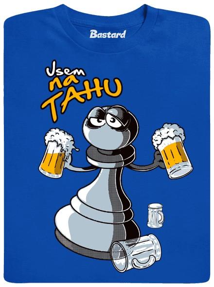 Šachová figurka šla na pivo - modré pánské tričko