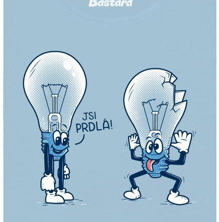 Rozbitá žárovka - modré dámské tričko