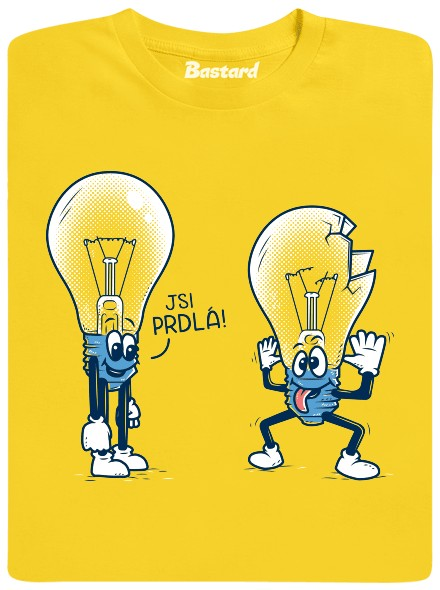Prdlá žárovka - žluté pánské tričko
