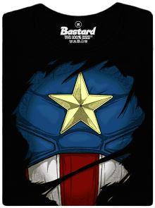 Captain Americe - černé dámské tričko s potiskem