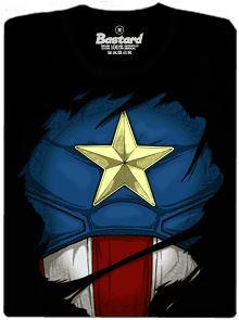 Kapitán Amerika - černé pánské tričko s potiskem