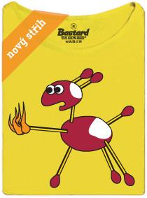 Kaštanová srnka a hořící sirka - žluté dámské tričko