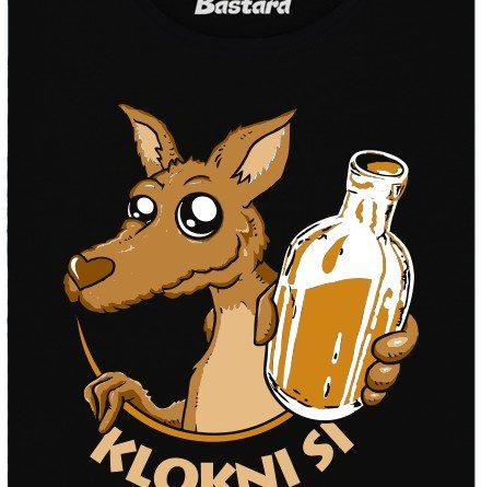 Lokni si nabízí klokan flašku s alkoholem - černé dámské tričko