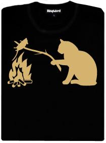Kočka opéká myš nad ohníčkem - černé dámské tričko