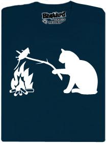 Kočka opéká myš nad ohněm - modré pánské tričko