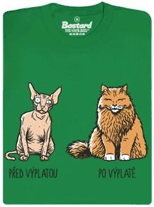Chlupatá a holá kočka - zelené pánské tričko