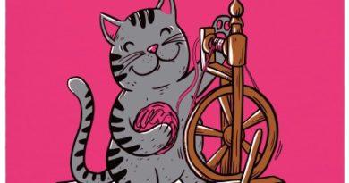Kočka přede - růžové dámské tričko
