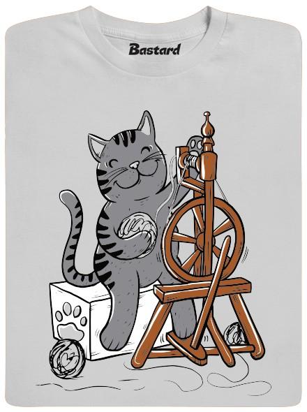 Kočka přede klubíčko - šedé pánské tričko
