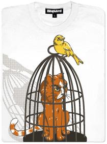 Pták sedící na kleci s kocourem - dámské tričko