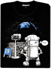 Kosmonaut na měsíci - černé dámské tričko s potiskem