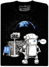 Kosmonaut na měsíci a placený dalekohled - černé pánské tričko