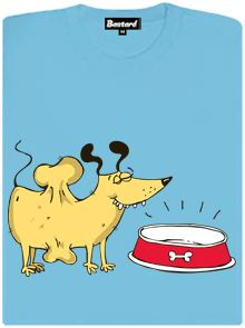 Pes kost miska - modré dámské tričko