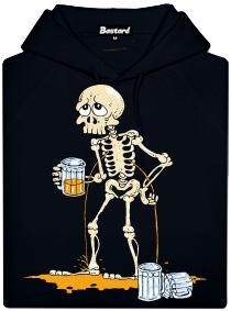 Kostlivec a půllitr piva - černá pánská mikina