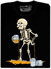 Kostlivec a půllitr piva - černé pánské tričko s potiskem