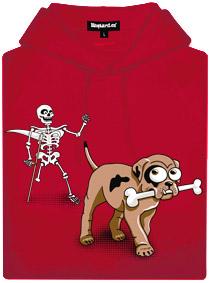 Červená pánská mikina s potiskem Kostlivec a štěně