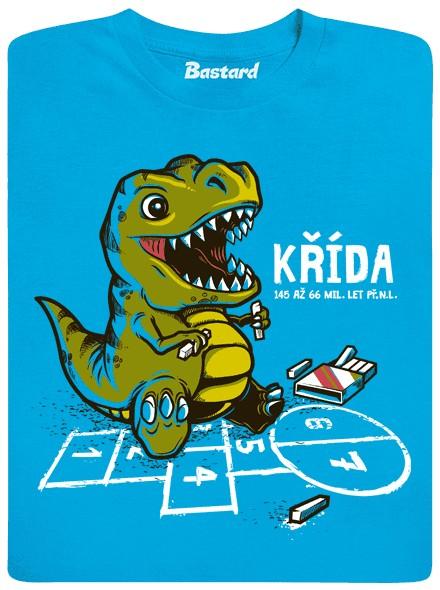 Dinosaur si hraje s křídou - modré dětské tričko