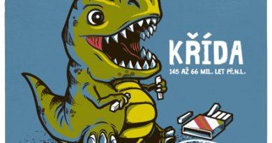 Dinosaur si hraje s křídou - modré pánské tričko