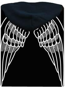 Černá dámská mikina s potiskem na zádech Andělská křídla