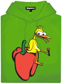 Zelená pánská mikina s potiskem Kuře na paprice