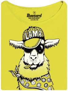Hustá cool lama - žluté dámské tričko s potiskem