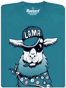Lama s kšiltovkou, slunečními brýlemi a šátkem - modré pánské tričko