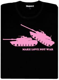 Růžové tanky dělající lásku - černé dámské tričko s potiskem