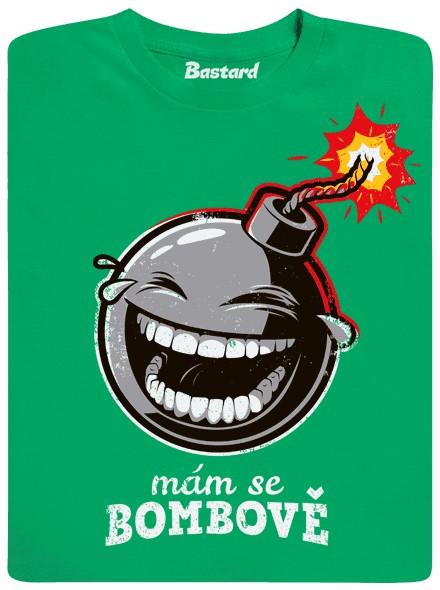 Vysmátá zapálená bomba - zelené pánské tričko