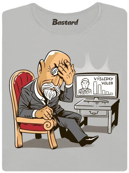 Masaryk dává facepalm nad politikou situací - šedé dámské tričko