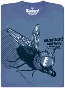 Mayday - moucha versus plácačka - modré pánské tričko