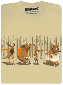 Mejdan v lese - zvířátka - béžové pánské tričko