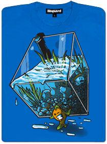 Modré dámské tričko s potiskem Migrující rybka