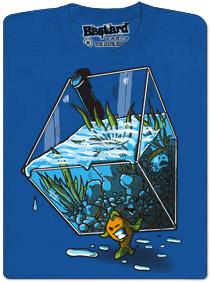 Modré pánské tričko s potiskem Migrujícíc rybka