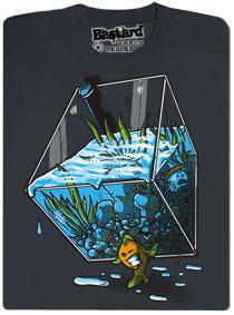Šedé pánské tričko s potiskem Migrující rybka