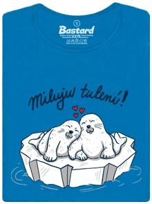 Dva tuleni se tulí na kře a srdíčka - modré dámské tričko