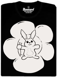 Mírumilovný zajíček - černé pánské tričko s fosforeskujícím potiskem