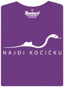 Najdi kočičku - fialové dámské tričko s potiskem