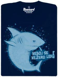 Neboj se, nežeru lidi! - modré pánské tričko s potiskem