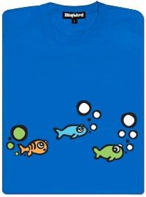 Rybička a její malá nehoda - modré dámské tričko s potiskem