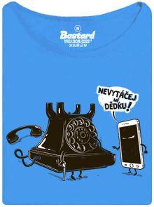 Smartphone vs. vytáčená pevná linka telefon - tričko s potiskem