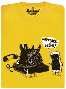 Telefon v důchodu - žluté pánské tričko