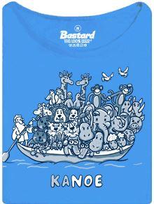 Kanoe pro vodáky jako Noemova archa - modré dámské tričko s potiskem