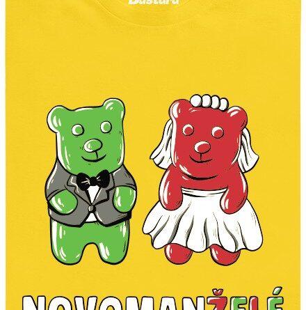 Gumoví medvídci jako novomanželé - žluté pánské tričko