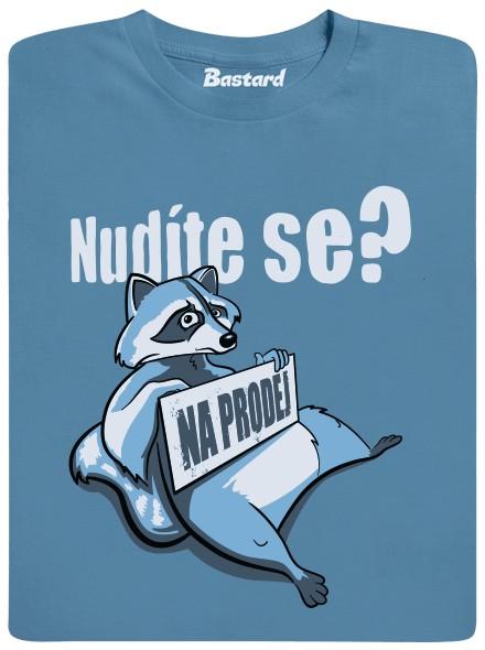 Medvídek mýval na prodej - modré pánské tričko