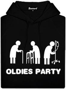 Černá pánská mikina s potiskem Oldies party