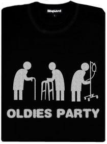 Oldies párty - černé dámské tričko s potiskem