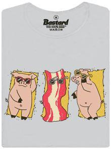 Prasátko vypečené do křupavé slaniny - šedé dámské tričko