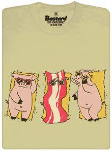 Opalovačka a prasátko vypečené na slaninu - béžové pánské tričko