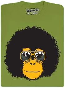 Tričko s retro opičákem s retro hárem a retro brejlema